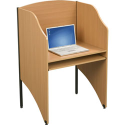 Balt 89868 Floor Privacy Study Carrel, Teak Laminate