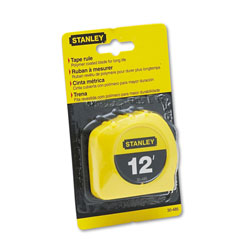 "Stanley Bostitch Power Return Tape Measure with Belt Clip, 1/2""w x 12 ft., Yellow"