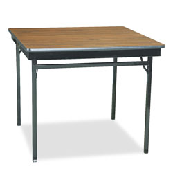 "Barricks Special Size Folding Table, 36"" Square, 30"" High, Walnut Laminate Top"