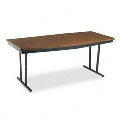 Barricks Economy Press O Matic Conference Folding Table, 72 x 36, Walnut Laminate Top