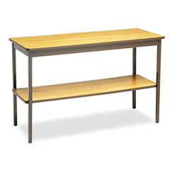 Barricks Utility Table with Bottom Storage Shelf, 48 x 18, Oak/Brown