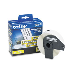 Brother Labelmaker Die Cut Address Labels, 3 1/2 x 1 1/7, White Paper, Roll of 400