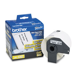 Brother Labelmaker Die Cut Shipping Labels, 4 x 2 3/7, White Paper, Roll of 300