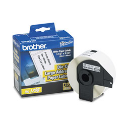 Brother Labelmaker Die Cut Address Labels, 3 1/2 x 1 1/2, White Paper, Roll of 400