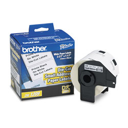 Brother Labelmaker Die Cut Address Labels, 1 1/7 x 2 3/7, White Paper, Roll of 800