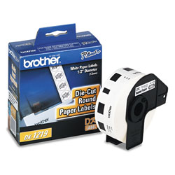 "Brother Round Paper Labels for QL PC Label Printers, 1/2"" Dia., 1200 Per Roll"