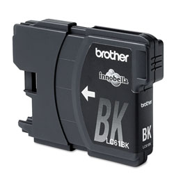 Brother LC61 Black Ink Cartridge, 450 Pages