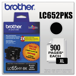 Brother LC65 Black Ink Cartridges, 900 Pages