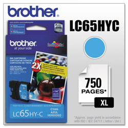 Brother LC65 Cyan High Yield Ink Cartridge, 900 Pages