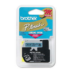 "Brother M Series Tape Cartridge for P Touch Labelers, Black on Blue, 1/2"" Width"