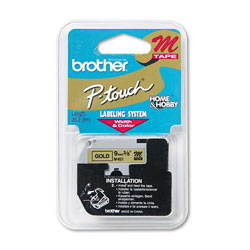 "Brother M Series Tape Cartridge for P Touch Labelers, Black on Gold, 3/8"" Width"