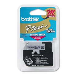 "Brother M Series Tape Cartridge for P Touch Labelers, Black on Silver, 3/8"" Width"