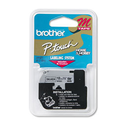 "Brother M Series Tape Cartridge for P Touch Labelers, Black on Silver, 1/2"" Width"