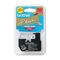 "Brother M Series Tape Cartridge for P Touch Labelers, Red on White, 1/2"" Width"
