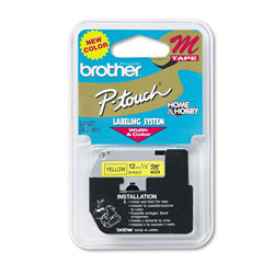 "Brother M Series Tape Cartridge for P Touch Labelers, Black on Yellow, 1/2"" Width"
