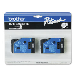 "Brother TC Series Tape Cartridge for P Touch Labelers, Black on Clear, 1/2"" Width, 2/Pack"