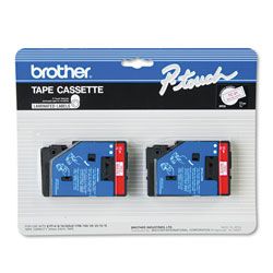 "Brother Model TC-21 Red on White Tapes, 0.5"" x 25', Pack Of 2"