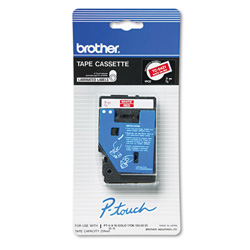 "Brother Model TC-54Z1 White On Red Tape, 0.38"" x 25'"