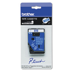 "Brother 3/8"" white on blue laminated tape for PT 6/25/150/170, 1/pack"