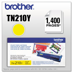 Brother TN210Y Toner, 1400 Page-Yield, Yellow