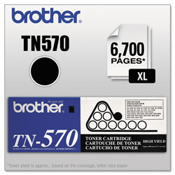 Brother TN570 Black High Yield Toner Cartridge for Laser Printers & Others