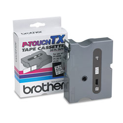 "Brother TX Series Tape Cartridge for PT 8000, PT PC, PT 30/35, Black on White, 3/4"" Wide"