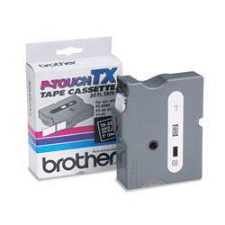 "Brother TX Series Tape Cartridge for PT 8000, PT PC, PT 30/35, White on Black, 1"" Wide"