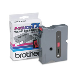 "Brother TX Series Tape Cartridge for PT 8000, PT PC, PT 30/35, Black on Red, 1"" Wide"