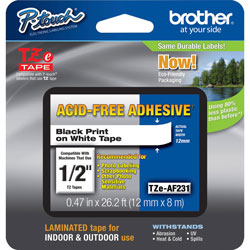"Brother TZ Series Tape Cartridge for P Touch Labelers, Black on White, 1/2"" Width"