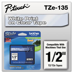 "Brother Laminated Tape Cartridge, For TZ Models, 1/2"", White/Clear"