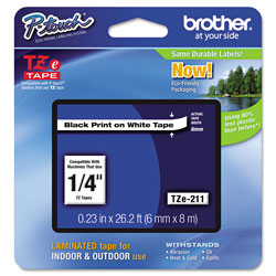 "Brother Laminated Tape Cartridge, For TZ Models, 1/4"", Black/White"