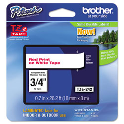 "Brother Lettering Tape, 3/4"" Size, Red/White"