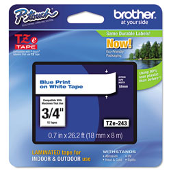 "Brother Lettering Tape, 3/4"" Size, Blue/White"