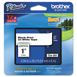 "Brother Lettering Tape, 1"" Size, Black/White"