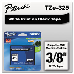 "Brother Laminated Tape Cartridge, For TZ Models, 3/8"", White/Black"