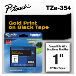 "Brother Lettering Tape, 1"" Size, Gold/Black"