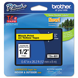 "Brother Laminated Tape Cartridge, For TZ Models, 1/2"", Black/Yellow"