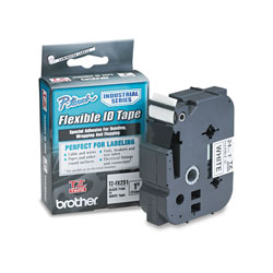 Brother TZ Flexible Tape Cartridge for P-Touch Labelers, 1in x 26.2ft, Black on White
