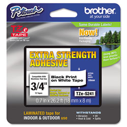 "Brother Industrial Tape, Laminated, 3/4"", Black/White"