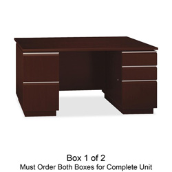 "Bush Double Pedestal Desk, 1/2, 59-1/2"" x 29-3/8"" x 29-5/8"", Harvest Cherry"