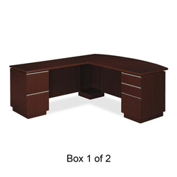 Bush Milano² Collection Left L-Desk With Full Pedestal, Harvest Cherry