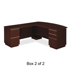 Bush Milano² Collection Left L-Desk Full Height Pedestals, Harvest Cherry