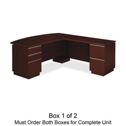 Bush Milano² Collection Right L-Desk with Full Pedestal, Harvest Cherry