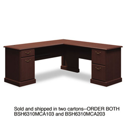 "Bush 72""W x 72""D L-Desk (B/D, F/F) Box 1 of 2 Syndicate Mocha Cherry"