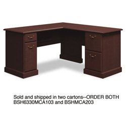 "Bush 60""W x 60""D L-Desk (B/D, F/F) Box 1 of 2 Syndicate Mocha Cherry"