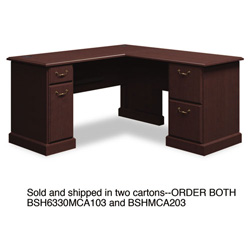"Bush 60""W x 60""D L-Desk (B/D, F/F) Box 2 of 2 Syndicate Mocha Cherry"