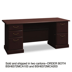 "Bush 72""W Double Ped Desk (B/B/F, F/F) Box 2 of 2 Syndicate Mocha Cherry"