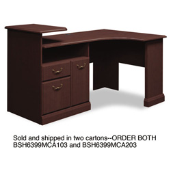 Bush Expandable Corner Desk Solution (B/F/D) Box of 2 Syndicate Mocha Cherry