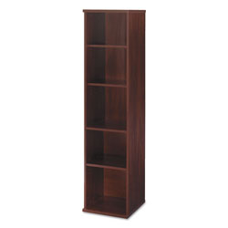 "Bush Series C Open Five Shelf Single Bookcase, 17 7/8"" Wide, Dark Cherry"