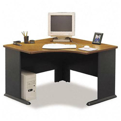 Bush Series A Corner Desk, Natural Cherry/Slate Gray, 47 1/4w x 47 1/4d x 29 7/8h
